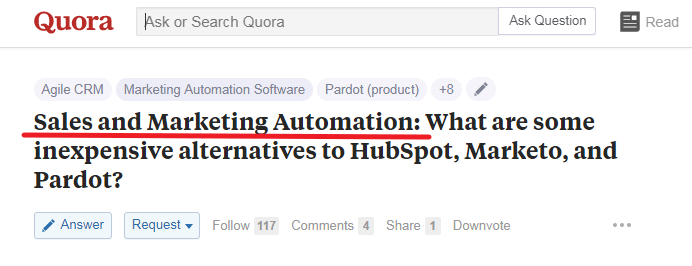 Quora Sales And Marketing