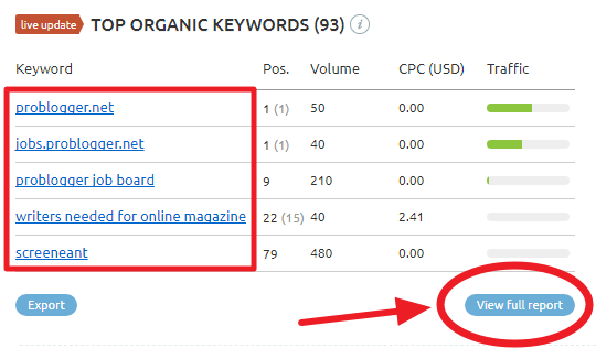 Top Orgainic Keywords