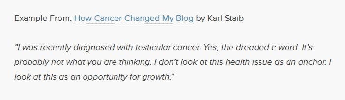 Example on how cancer changed my blog