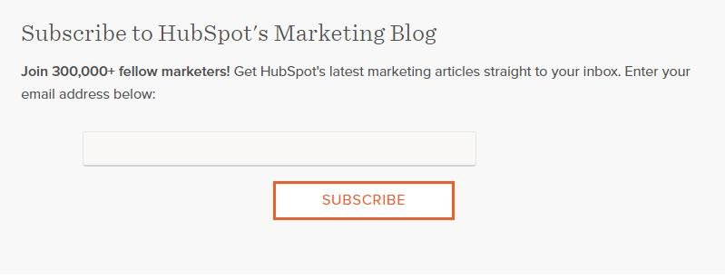 Subscribe to hubspot's marketing blog