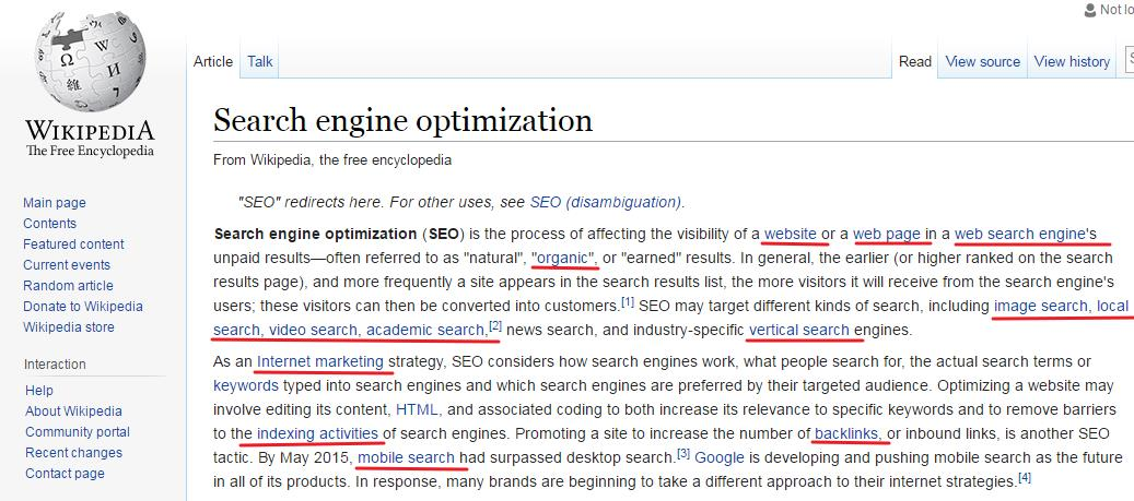 Wikepedia Search Engine Optimization