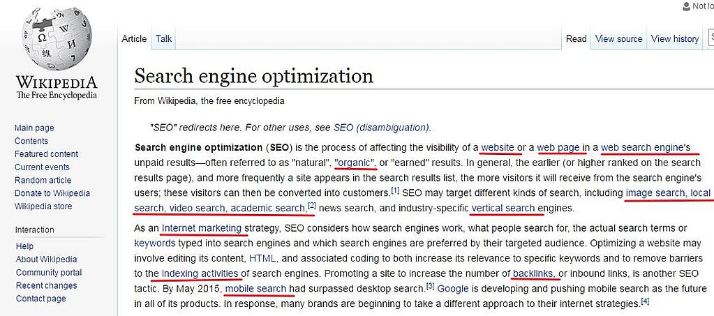 Wikepedia Search Engine Optimization