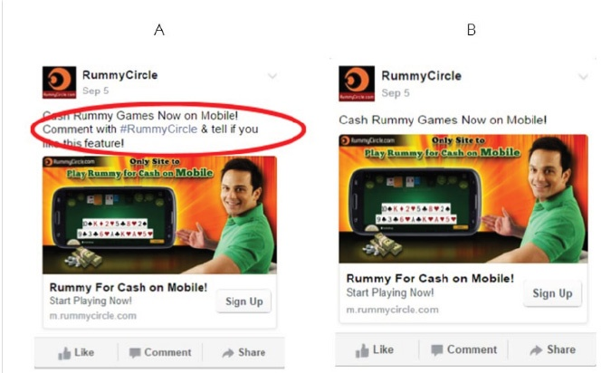Rummy Circle's Mobile Facebook Ad: